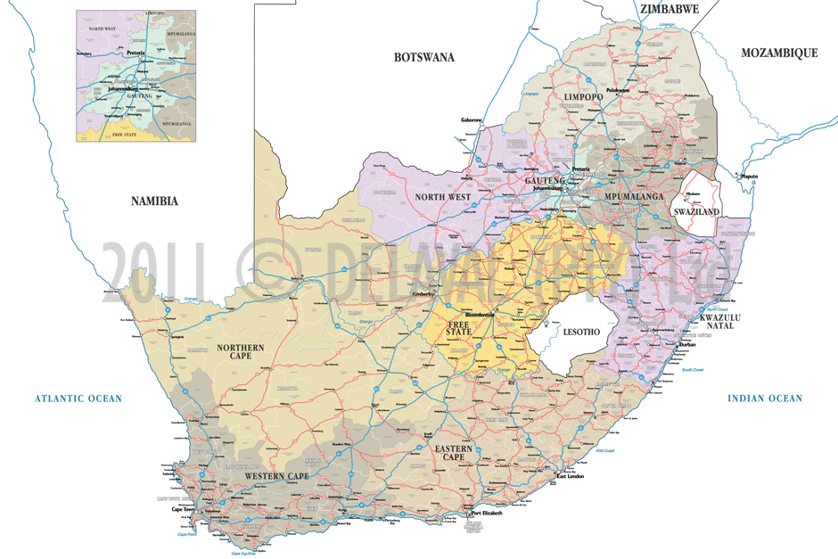 south africa map detailed