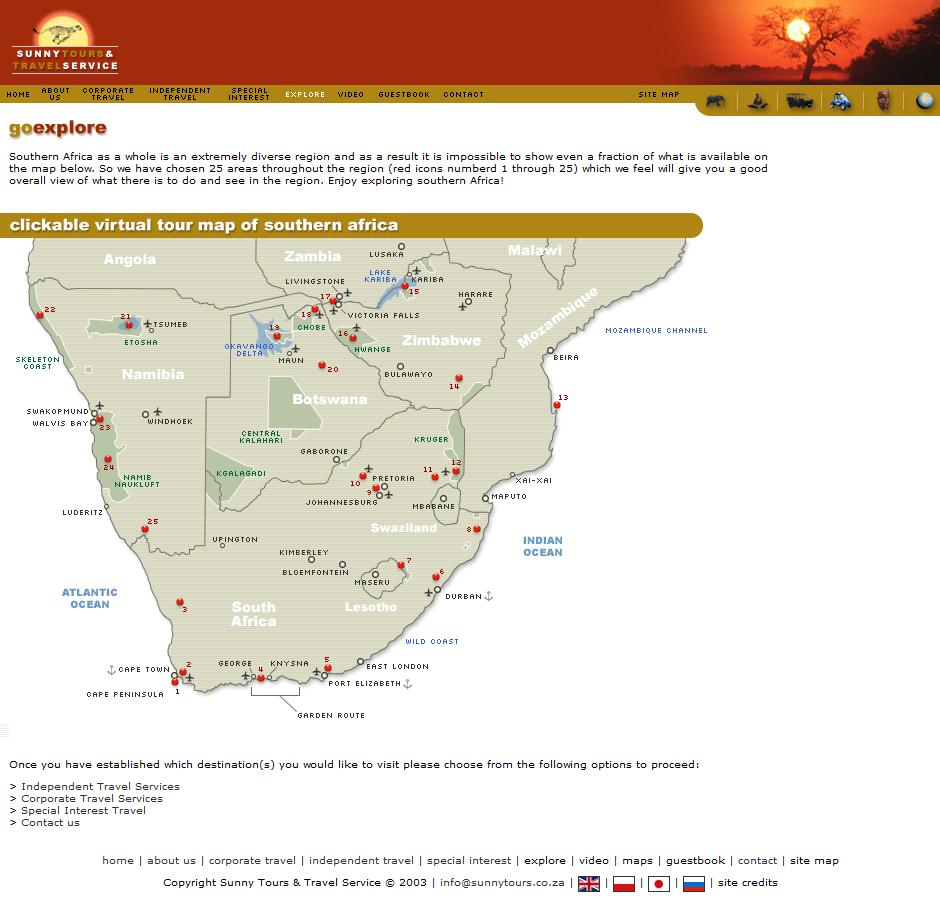 Website Site Map: Sunny Tours And Travel Service Cc Website Portfolio